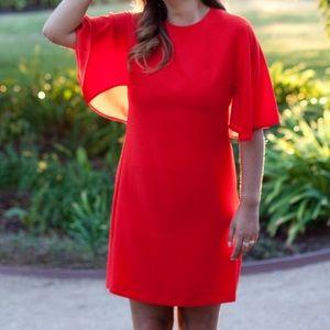 Zara Red Flutter sleeve Shift dress